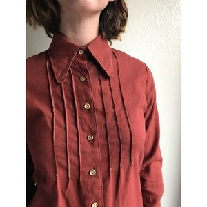 [vintage] 70s rust seamed button up